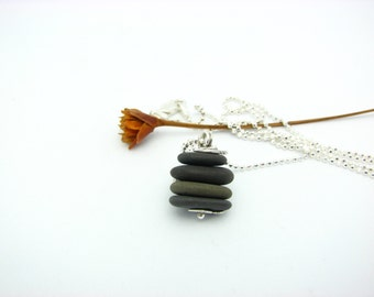 "Beach Stone Cairn Pendant Rustic Natural Organic Earthy Natural Stone Jewelry ""Zen Moment"""