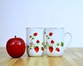 Vintage Otagiri Strawberry Teacups:  Set of Two