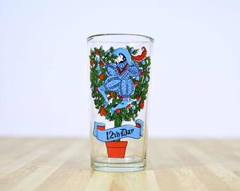 Replacement Vintage Twelve Days of Christmas Drinking Glass:  12th Day My True Love Sent To Me Twelve Lords A-Leaping