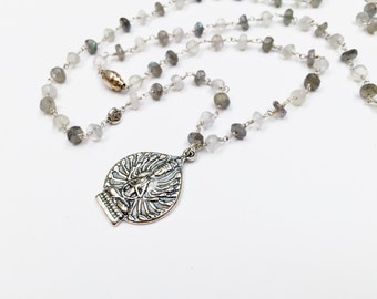 Labradorite Beaded Chain with Sterling Silver Buddha Pendant, Beaded Necklace, Buddha Necklace