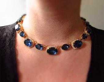 Regency Necklace,  19th Century Collet Necklace, Georgian Paste, Riviere Necklace, Navy Blue Georgian Jewelry, Dark Blue Wedding Navy Bride
