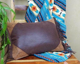 Leather Western Pillow with Fringe - cowboy, cowgirl, ranch home decor
