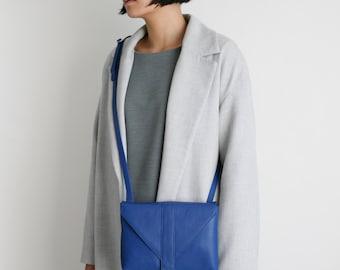Crossbody Bag Envelope Cobalt Blue Leather, satchel bag, box bag, envelope purse, messenger bag