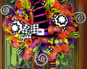 Whimsical Witch Hat and Boots Wreath