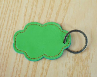 Leather keychain, leather keyring,cloud keychain, cloud keyring,cloud heart keychain,green cloud keyring,green keychain, cloud shape