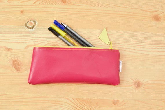 Leather pencil case,leather pencilcase,leather pouch,pink leather,pink pencil case,leather case,leather coin purse,yellow pencil case