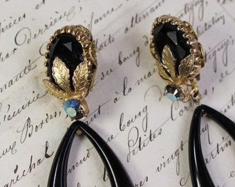 Moonless Night- Black and Gold Drop, Dangle Earrings- Antique Austrian Crystal Rhinestones- 1950's Plastic Hoops- Unique, One of a Kind