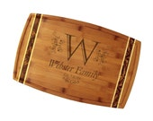 """Custom Engraved Ornate Monogram Cutting Board 18"""" x 11"""" Marbled Totally Bamboo - Classic Wedding Gift with Personalized Initial and Names"""