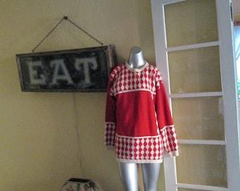 Vintage Red White Long Sweater / Angora Ski Sweater Imago Hong Kong