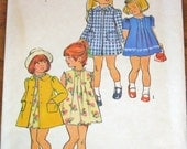 Simplicity 6182 Tucked Trimmed Puff Sleeve Dress and Coat, Vintage 1970s Little Girls Sewing Pattern Size 5 Chest 24 Uncut Factory Folds