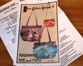 """Tradewind Tote and Purse, Shoulder Bag, Clamshell Wedge Fabric Strips 9"""" X 7"""" 18"""" X 14"""" June Colburn Designs II Craft Sewing Pattern Uncut"""