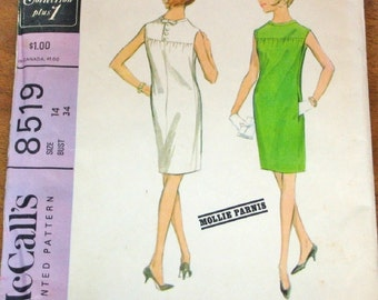 McCall's 8519 Mollie Parnis Sheath Dress Womens Misses Vintage 1960s New York Designer Collection Sewing Pattern Bust 34 Uncut Factory Folds