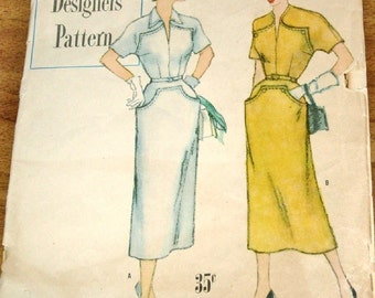 Simplicity 8230 Tailored Afternoon Dress with Yoke, Kimono Sleeves Womens Misses Vintage 1950s Designers Sewing Pattern Bust 36 Cut Complete
