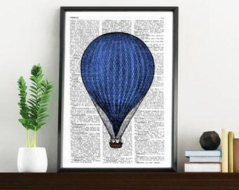 Blue Balloon Print Vintage Book Print Dictionary or Encyclopedia Page Print- Book print  on Vintage Book art BPTV078b