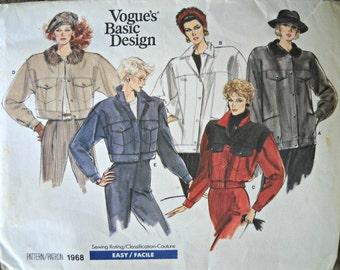 Vogue's Basic Design 1968 Jacket Pattern, Size 12, Vintage 1987