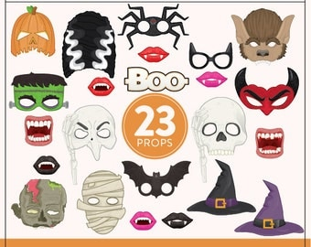 Printable Halloween Photo Booth Props | 23 Printable Halloween Props | Instant Download