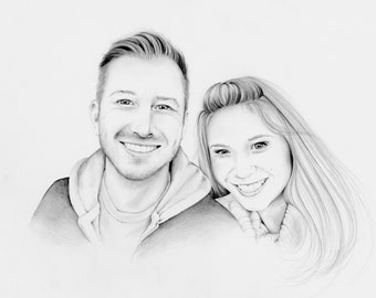 Personalized Couples Portrait Hand Drawn Work of Art from Your Photograph Anniversary Wedding Gift for Couples Gift for Wedding Anniversary