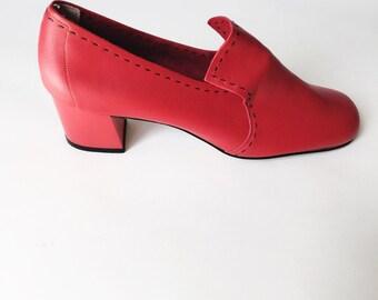 1960s Cherry Red Slip On Heels NOS