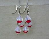 Flower earrings bell earrings red earrings small flower earrings small bell earrings dangle earrings cluster earrings stocking stuffer