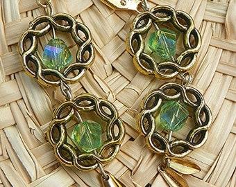 Golden Earrings antique gold earrings green earrings swarovski crystal earrings long earrings drop earrings dangle earrings crystal earrings