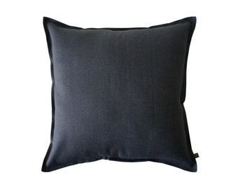 Charcoal linen decorative pillow cover, Dark grey throw pillow, Linen cushion cover, Grey accent pillow cover, Linen sofa pillow covers
