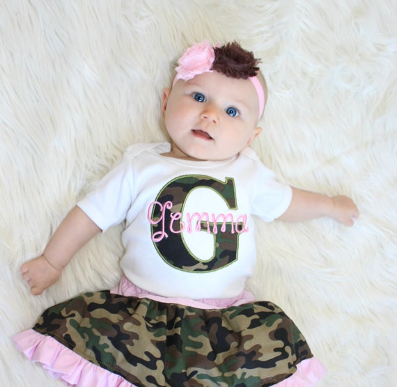 personalized baby girl clothes pink camo baby girl outfit