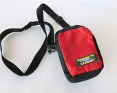 LL Bean Camera Bag Padded Red and Black Nylon with Adjustable Cross Body Strap