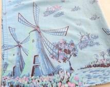 Dutch Windmills and Tulips Print Pillowcase Blue, Pink, Aqua