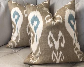 Two, Ikat Pillow, Kravet Pillow, Kravet Bansuri, Bansuri Pillow, Linen Pillow Cover, Ikat Pillow, 18X18, Taupe and Blue Pillow