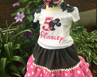 Custom Made Inspired Barbie Birthday Applique Number Name options outfit 2pc Shirt Skirt Ruffle 24m 2T 3t 4T 5 6 7 8 10 12
