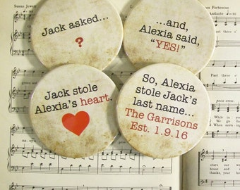 He Asked She Said Yes Round Wedding Coaster Set of 4 Personalized Wedding OR Engagement Gift for Couples, 3.50 Inch Round Coasters