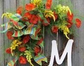 Orange Spring / Summer Wreath, Unique Plaid Bow Wreath, Designer Spring / Summer Wreath, Very Bright Vibrant Wreath, Orange Yellow Blue