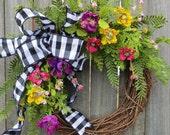 Wreath, Spring / Summer Wreath, Spring, Spring Black and White Wreath, Door Wreath, Housewarming Gift, Summer Wreath, Horn's Handmade
