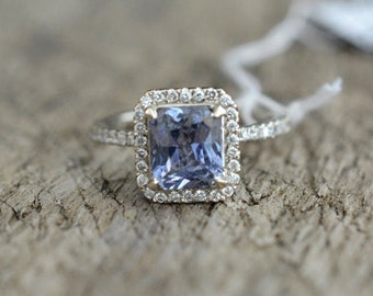 2.2 Ct blue sapphire White Gold Engagement Ring - Sku: JOAN-2294