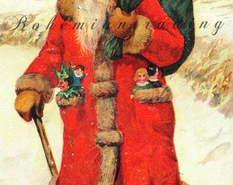 Santa Claus Postcard. Antique Christmas. Old World Santa. Father Christmas. Ernest Nister, EP Dutton 1910's Printed in Germany Collectible.