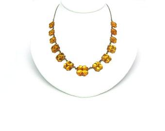 Topaz Vauxhall Glass Necklace. Art Deco Necklace, Czech Mirror Glass. Vintage 1920 Art Deco Jewelry. Antique Necklace. Lovely 4 Leaf Clovers