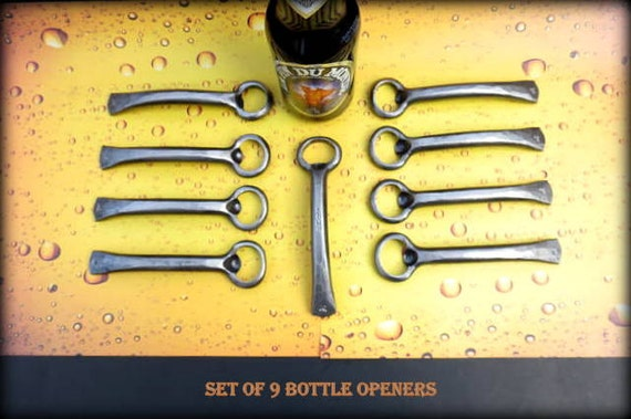 9 GROOMSMEN GIFTS Bottle Openers - Personalized Option Available - Hand Forged by Naz - Gifts for Groomsmen Ushers  Engagement  Gift  Men