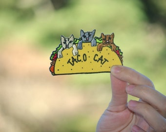 Taco Cat Patch Tacocat cat lover gift crazy cat lady gift kitten real men love cats popular under 5 girlfriend boyfriend gift animal lover