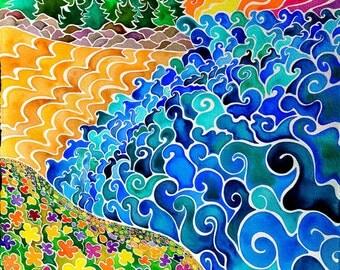 Big Sur Original Painting (Psychedelic Spiritual Stylized California Beach Sunrise Watercolor Landscape)