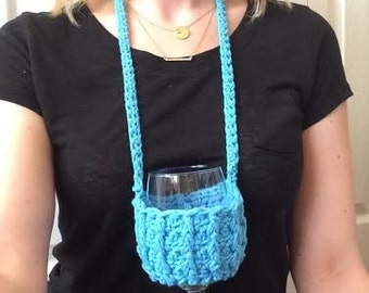 Blue Ribbed Woozie / Wine Coozie / Snifter Coozie / Necklace Coozie