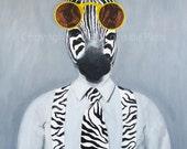 """Original Zebra Painting, BIG SIZE 24x31x2"""", handpainted, Zebra on canvas, Sunglasses, Zebra art by painter Coco de Paris"""