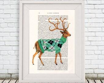 Winter Deer Print, antlers, stag print, Deer Illustration, digital deer, Animal Painting  Decor Wall hanging Wall Art, deer decor