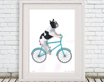 French Bulldog Painting, handpainted on high quality 250g Art paper, Frenchie Art, by painter Coco de Paris: Frenchie on bicycle