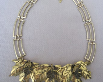 Antiqued Triple Gold Leaf Ladder Choker Necklace