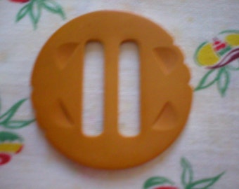 """Large Carved Bakelite Buckle ~ Approximately 2 -1/2 """" Butterscotch Bakelite Buckle"""