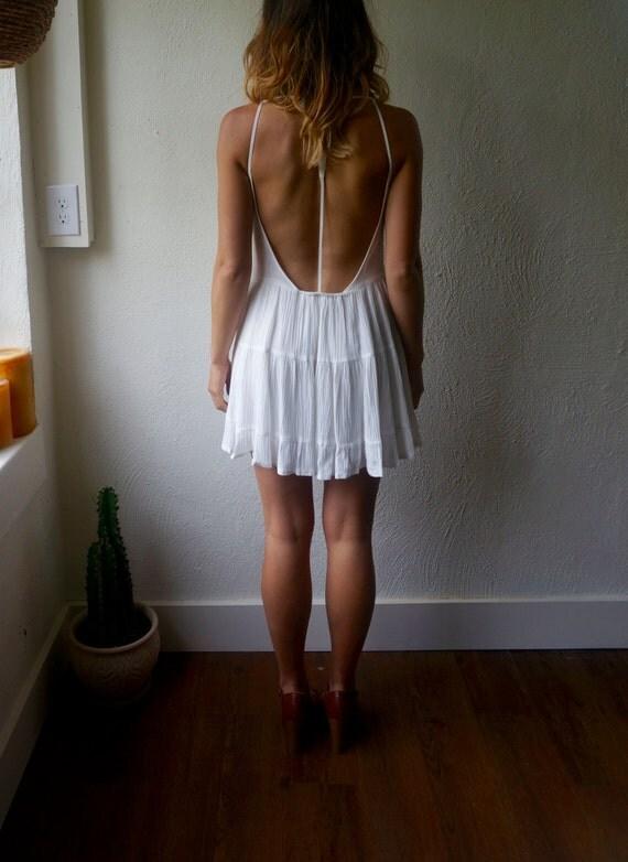 Vintage White Low Back Sundress Xs S M Mini Flowy Boho Hippie