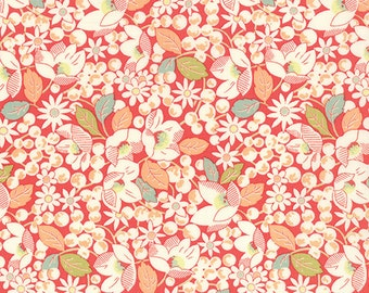 Strawberry Fields Revisited, #20265 11, By Fig Tree Quilts, of Moda Fabrics,  Red, White larger Floral with Aqua , Sold In Half Yard Amounts