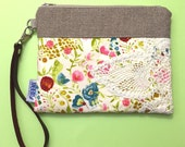 Cream Floral Leather Wristlet Vintage Lace - Made to Order