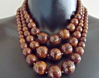 Vintage Bakelite 3 Strand Beaded Chunky Graduated Marbled Swirled Chocolate Brown & Caramel