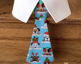 Christmas Dog Tie, Dog Neck Tie or Bow Tie, Christmas Puppies Removable Dog Tie with Glitter